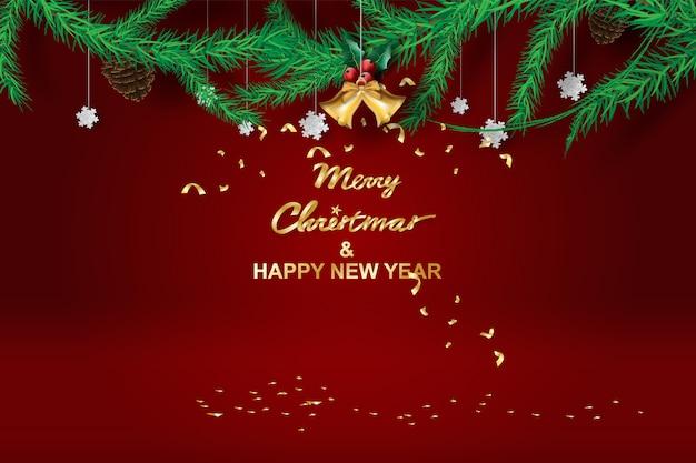 Frohe weihnachten und guten rutsch ins neue jahr mit rotem tonhintergrund.