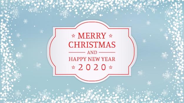 Frohe weihnachten und happy new year 2020 label mit schneeflocken auf vintage blau
