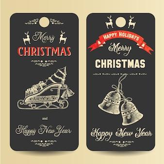 Frohe weihnachten und happy new year banner mit handgezeichneten symbolen von weihnachten
