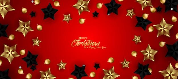 Frohe weihnachten und happy new year banner mit sternen gold und schwarzen sternen