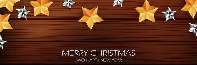 Frohe weihnachten und happy new year banner, mit sternen gold und weißen sternen