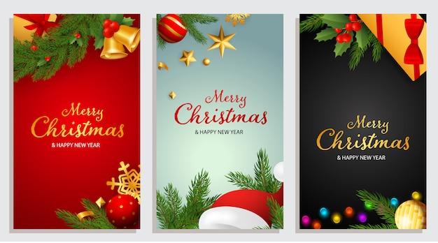Frohe weihnachten und happy new year design mit glöckchen