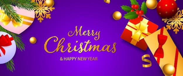 Frohe weihnachten und happy new year festliche banner