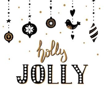 Frohe weihnachten und happy new year-grußkarte.