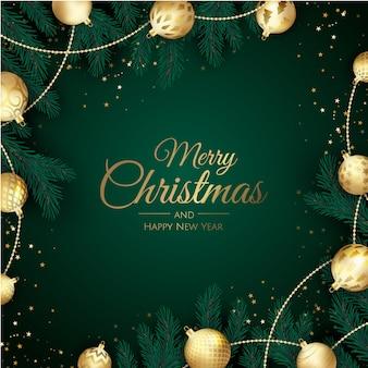 Frohe weihnachten und happy new year hintergrund mit schneeflocken und kugeln