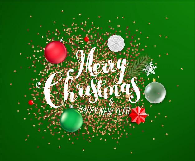 Frohe weihnachten und happy new year hintergrund