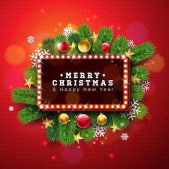 Frohe weihnachten und happy new year illustration