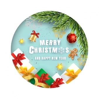 Frohe weihnachten und happy new year-karte. papierschnitt und realistische elemente