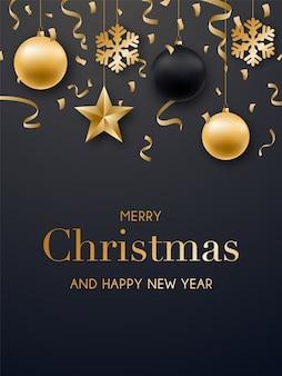 Frohe weihnachten und happy new year kartendesign.