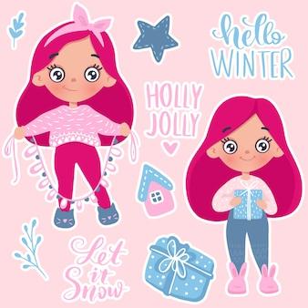 Frohe weihnachten und happy new year little girl-karte