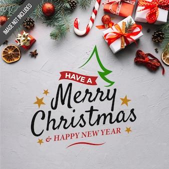 Frohe Weihnachten und Happy New Year Schriftzug