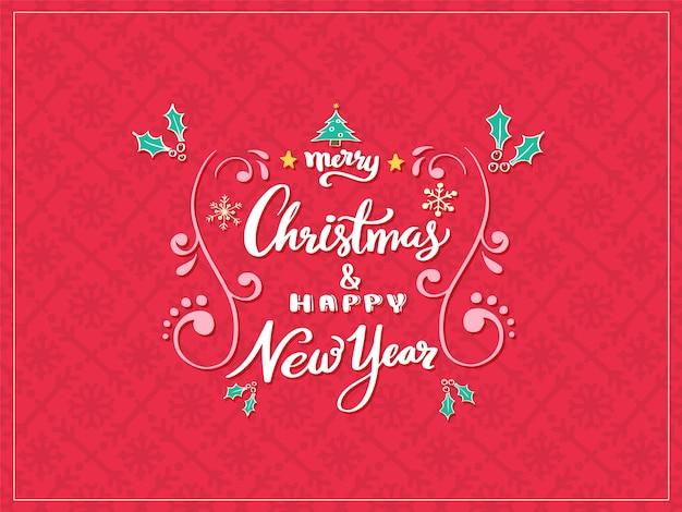 Frohe weihnachten und happy new year schriftzug.