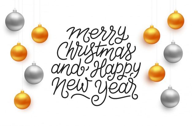 Frohe weihnachten und happy new year typografie