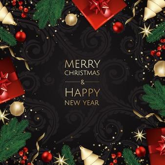Frohe weihnachten und happy new year, xmas hintergrund mit geschenkbox, schneeflocken und kugeln design,