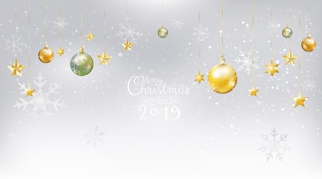 Frohe weihnachten und neues jahr 2019 auf weißem schneehintergrund