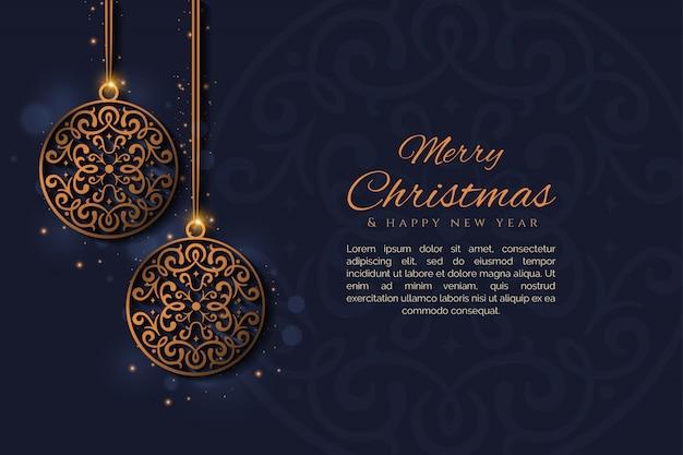Frohe weihnachten und neues jahr mit einem dekorativen ballvektor