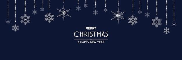 Frohe weihnachten und neujahr 2022 poster xmas minimales banner-design mit hängenden schneeflocken