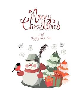 Frohe weihnachten und neujahr grußkarte. ein niedlicher kleiner schneemann mit einem bullfinch und einem besen