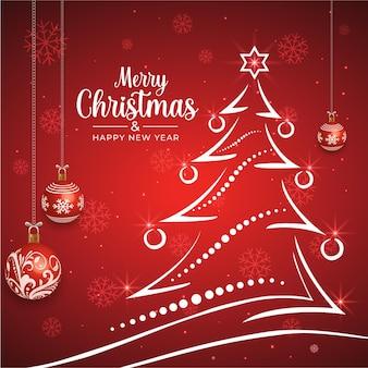 Frohe weihnachten und neujahr hintergrund mit weihnachtsbaum