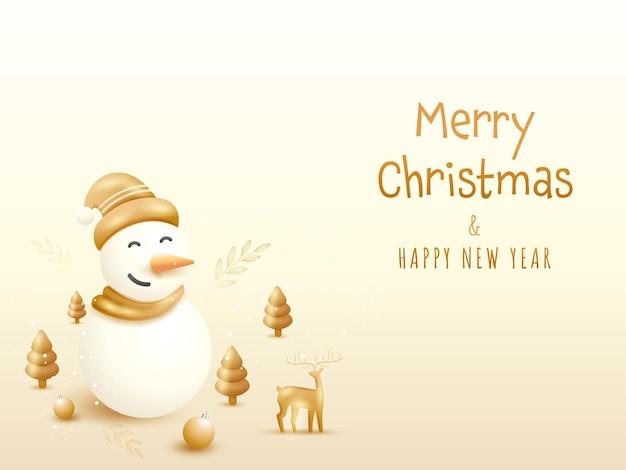 Frohe weihnachten und neujahr-konzept mit 3d-schneemann, weihnachtsbaum und rentier auf beigem hintergrund.