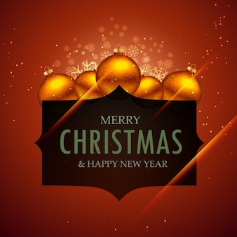 Frohe weihnachten und neujahr mit kugeln dekoration gruß
