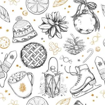 Frohe weihnachten und neujahr nahtloses muster. winterhintergrund mit handgezeichneten elementen