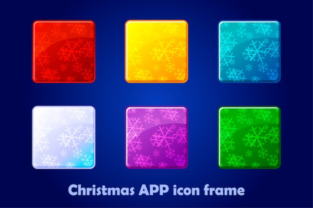 Frohe weihnachten und neujahr square app icons hintergrund.