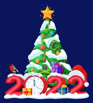 Frohe weihnachten und neujahr weihnachtsgrußkarte mit 2022 fetten buchstaben. weihnachtsmann-hut, uhr, geschenkbox, glaskugel, weihnachtsbaum. gimpel wintervogel. flache vektorillustration