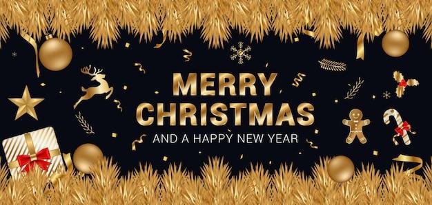 Frohe weihnachten und neujahr wünscht banner mit goldenem text und dekorationsgegenständen