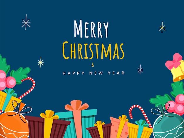 Frohe weihnachten und neujahrsfeier konzept mit bunten geschenkboxen, kugeln, jingle bell und holly berries auf blauem hintergrund.