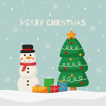 Frohe weihnachten und neujahrsgrußkarte mit einem schneemann auf blauem hintergrund