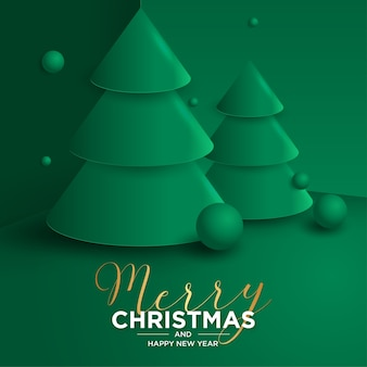 Frohe weihnachten und neujahrskarte 3d mit realistischem weihnachtsbaum 3d