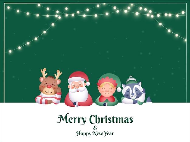 Frohe weihnachten und neujahrskonzept mit karikatur-weihnachtsmann