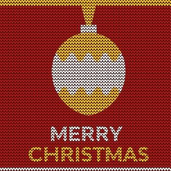 Frohe weihnachten und verzierungsentwurf mit rotem textilgewebemuster