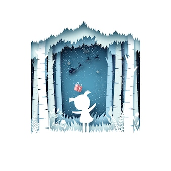 Frohe weihnachten und wintersaison hintergrund. das mädchen und ihr geschenk vom weihnachtsmann im schlitten.