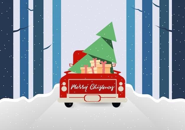 Frohe weihnachten und wintersaison mit rotem lkw tragen weihnachtsbaum- und geschenkboxvektor