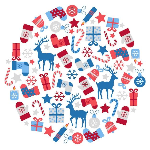 Frohe weihnachten vektor flache illustrationen rote und blaue stilvolle weihnachtselemente in einem kreis
