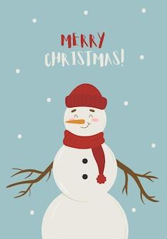 Frohe weihnachten-vektor-grußkarte mit süßem schneemann-charakter mit mütze und schal