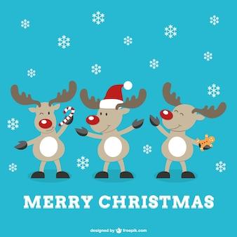 Frohe weihnachten vektor mit rentieren
