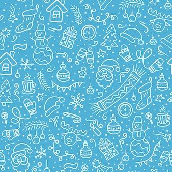 Frohe weihnachten vektor nahtlose muster im doodle-stil blauer hintergrund