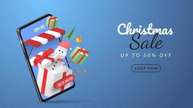 Frohe weihnachten verkauf banner auf handy mit smartphone illustration