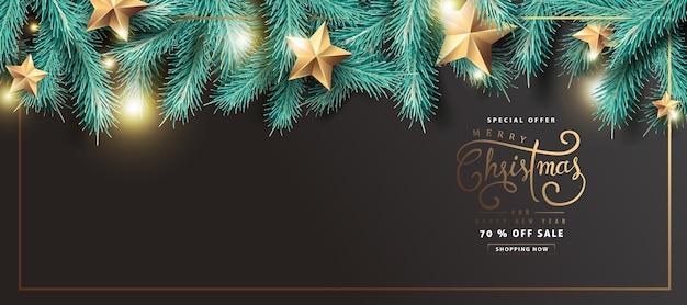 Frohe weihnachten verkauf banner hintergrund mit realistischen baumzweigen und goldenen sternen.
