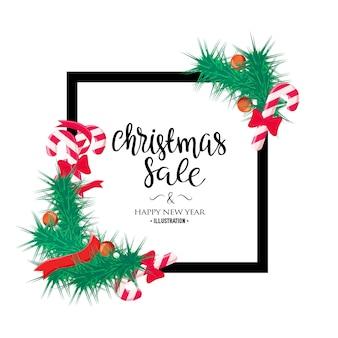 Frohe weihnachten verkauf hintergrund. perfektes dekorationselement für karten, einladungen und andere
