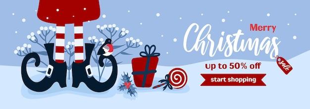 Frohe weihnachten verkauf horizontale vektor-banner-geschenke winter-elf-schuhe für werbebanner-flyer