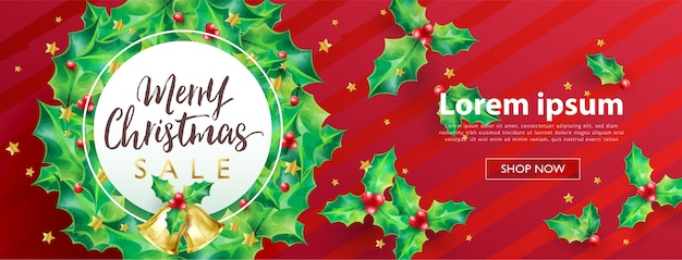 Frohe weihnachten verkauf konzept banner mit kranz stechpalme und weihnachtsschmuck auf rotem streifen hintergrund