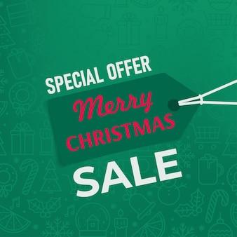 Frohe weihnachten-verkaufsbanner mit mode-label-tag in grünen farben vektor-illustration