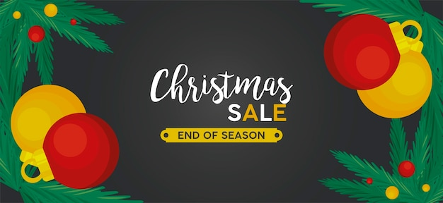 Frohe weihnachten verkaufsbeschriftung mit kugeln und blättern in der schwarzen rahmenillustration