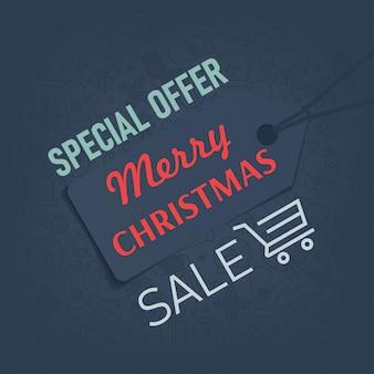 Frohe weihnachten-verkaufsfahne mit mode-label-tag-vektor-illustration