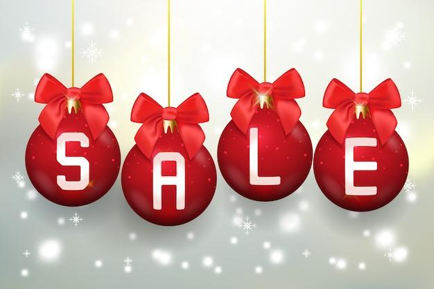 Frohe weihnachten verkaufsplakat mit weihnachtskugeln. feiertagsfeier, weihnachten und neujahr. vektorillustration