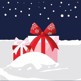 Frohe weihnachten verpackte geschenkboxen in der schneeszenenillustration
